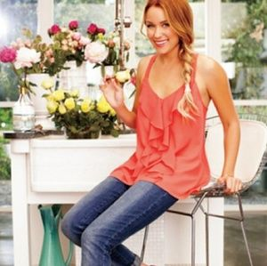 Lauren Conrad Coral ruffle top with lace detailing